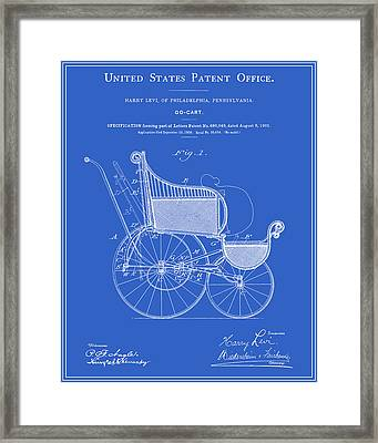 Stroller Patent - Blueprint Framed Print by Finlay McNevin