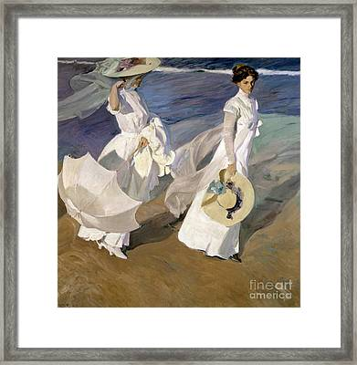 Strolling Along The Seashore Framed Print by Joaquin Sorolla y Bastida