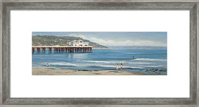 Strolling At The Malibu Pier Framed Print by Tina Obrien