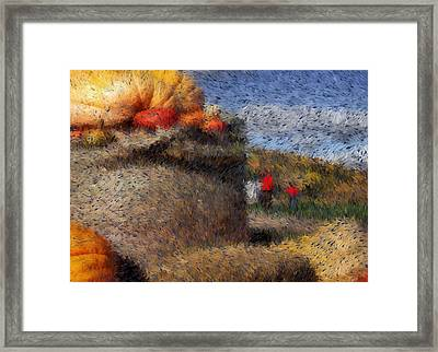 Strolling Through Autumn Framed Print by Tingy Wende