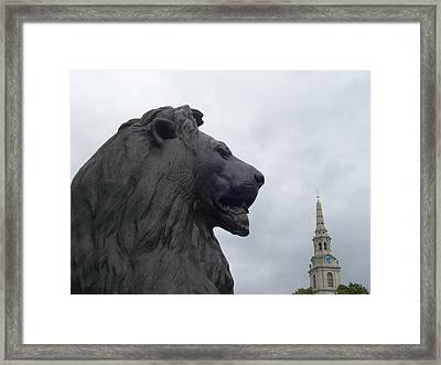 Strong Lion Framed Print by Mary Mikawoz