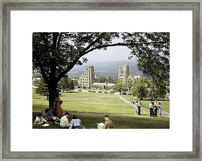 Students Sit On A Hill Overlooking Framed Print by Volkmar Wentzel