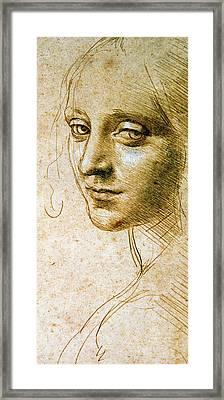 Study For The Angel Of The Virgin Of The Rocks Framed Print by Leonardo da Vinci