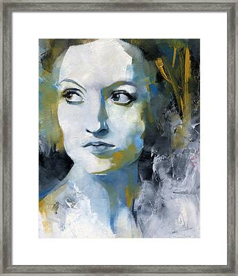 Study In Blue And Ochre Framed Print by Patricia Ariel