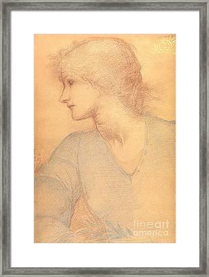 Study In Colored Chalk Framed Print by Sir Edward Burne-Jones