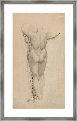 Study Of A Back Of A Female Nude Standing Framed Print by Henry Fuseli