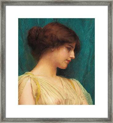 Study Of A Girl's Head Framed Print by John William Godward