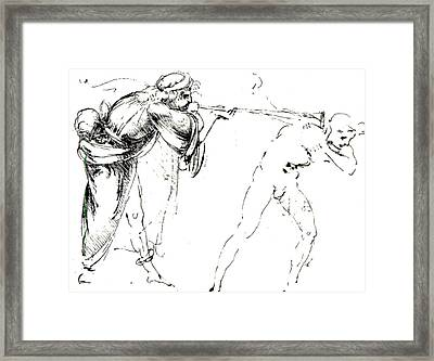 Study Of A Man Blowing A Trumpet In Another's Ear Framed Print by Leonardo da Vinci