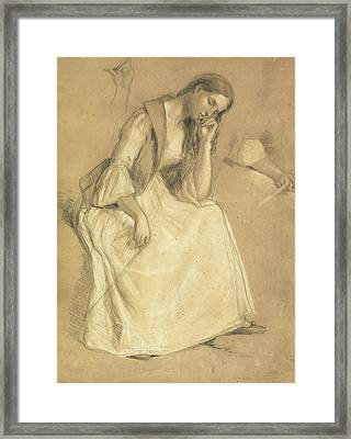 Study Of A Seated Girl Framed Print by Charles Cope West