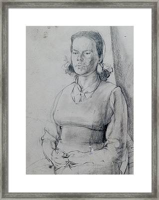 Study Of A Seated Girl. Framed Print by Harry Robertson