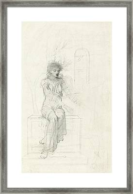 Study Of A Seated Woman Framed Print by John Melhuish Strudwick