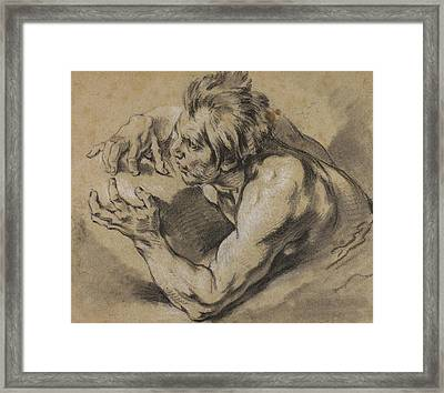 Study Of A Triton Framed Print by Francois Boucher