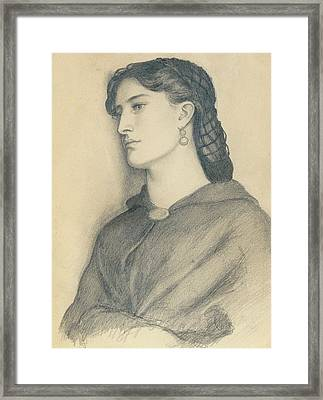 Study Of Aggie Manetti  Framed Print by Dante Gabriel Charles Rossetti
