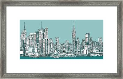 Study Of New York City In Turquoise  Framed Print by Adendorff Design