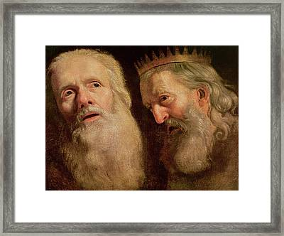 Study Of The Heads Of Two Old Men Framed Print by Philippe de Champaigne