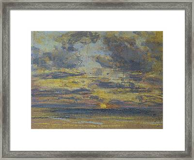 Study Of The Sky With Setting Sun Framed Print by Eugene Louis Boudin