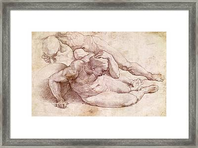 Study Of Three Male Figures Framed Print by Michelangelo