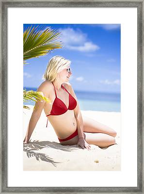 Stunning Woman At Beach Oasis Framed Print by Jorgo Photography - Wall Art Gallery