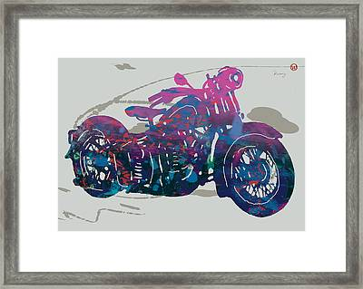 Stylised Motorcycle Art Sketch Poster - 1 Framed Print by Kim Wang