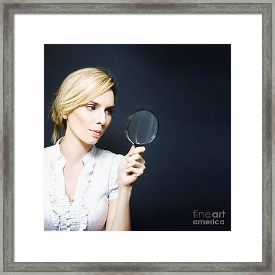Stylish Business Woman With Magnifying Glass Framed Print by Jorgo Photography - Wall Art Gallery
