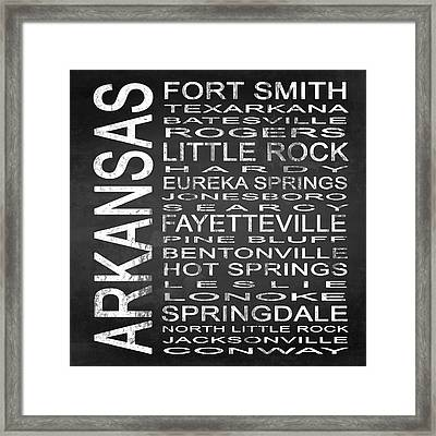 Subway Arkansas State Square Framed Print by Melissa Smith