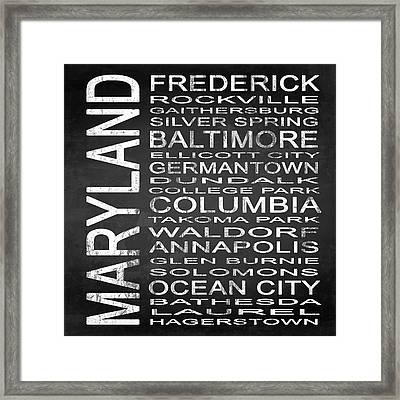 Subway Maryland State Square Framed Print by Melissa Smith