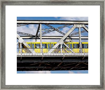 Subway Train And Bridge Framed Print by Anthony Dezenzio