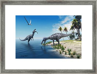 Suchomimus Dinosaurs Framed Print by Corey Ford