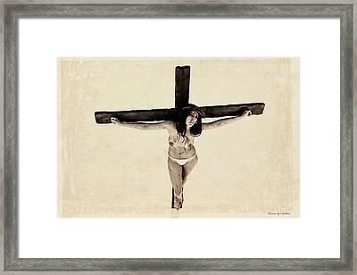 Suffering Of A Woman On Cross Framed Print by Ramon Martinez