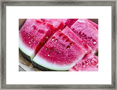 Sugar Baby Watermelon Slices Framed Print by Teri Virbickis