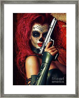 Sugar Doll Long Night Of The Dead Framed Print by Shanina Conway