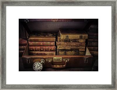Suitcase Full Of Books Framed Print by Garry Gay