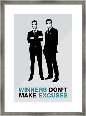Suits Tv Show Poster Harvey Quote - Winners Don't Make Excuses Framed Print by Beautify My Walls