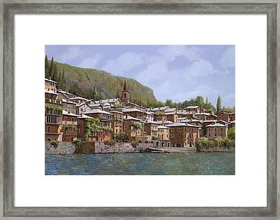 Sul Lago Di Como Framed Print by Guido Borelli