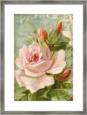Summer At Cape May - Porch Roses Framed Print by Audrey Jeanne Roberts