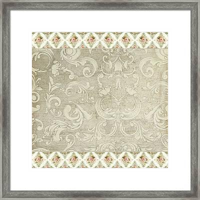 Summer At The Cottage - Vintage Style Damask Rose Border Framed Print by Audrey Jeanne Roberts