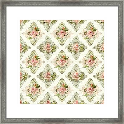 Summer At The Cottage - Vintage Style Damask Roses Framed Print by Audrey Jeanne Roberts