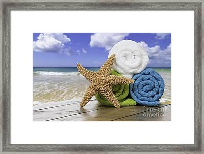 Summer Beach Towels Framed Print by Amanda Elwell