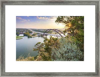 Summer Evening At The 360 Bridge Near Austin Texas Framed Print by Rob Greebon