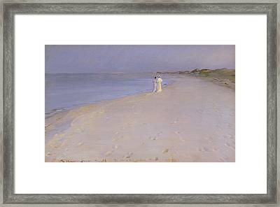 Summer Evening At The South Beach Framed Print by Peder Severin Kroyer