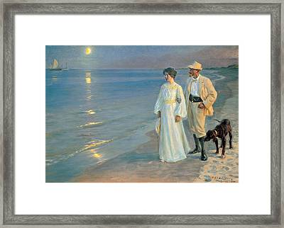 Summer Evening On The Beach At Skagen, The Painter And His Wife. Framed Print by Peder Severin Kroyer