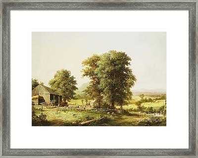 Summer Farm Scene Framed Print by George Durrie