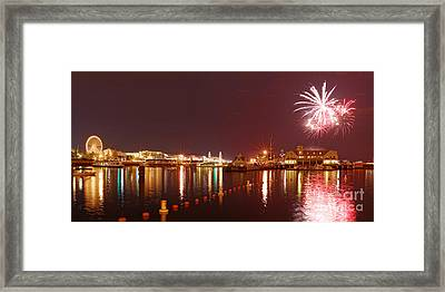 Summer Fireworks At The Navy Pier - Lake Michigan Chicago Illinois Framed Print by Silvio Ligutti