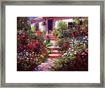 Summer Holiday Cottage Framed Print by David Lloyd Glover