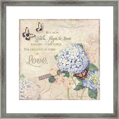 Summer Memories - Blue Hydrangea N Butterflies Faith Hope And Love Framed Print by Audrey Jeanne Roberts