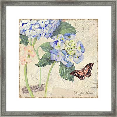 Summer Memories - Blue Hydrangea N Butterfly Framed Print by Audrey Jeanne Roberts