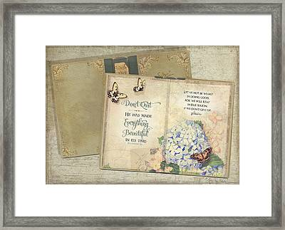 Summer Memories - Don't Quit Inspirational Scripture Framed Print by Audrey Jeanne Roberts