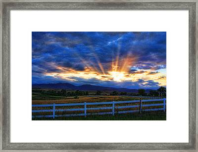 Sun Beams In The Sky At Sunset Framed Print by James BO  Insogna