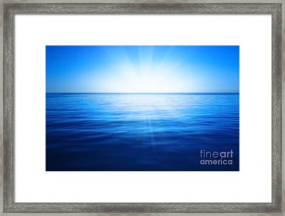 Sun, Blue Sky And Ocean Framed Print by Unknow