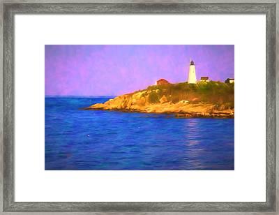 Sun Reflecting On Bakers Island Lighthouse Framed Print by Jeff Folger